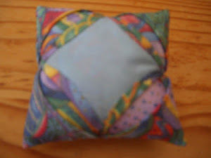 upcycled duvet cover pin cushion