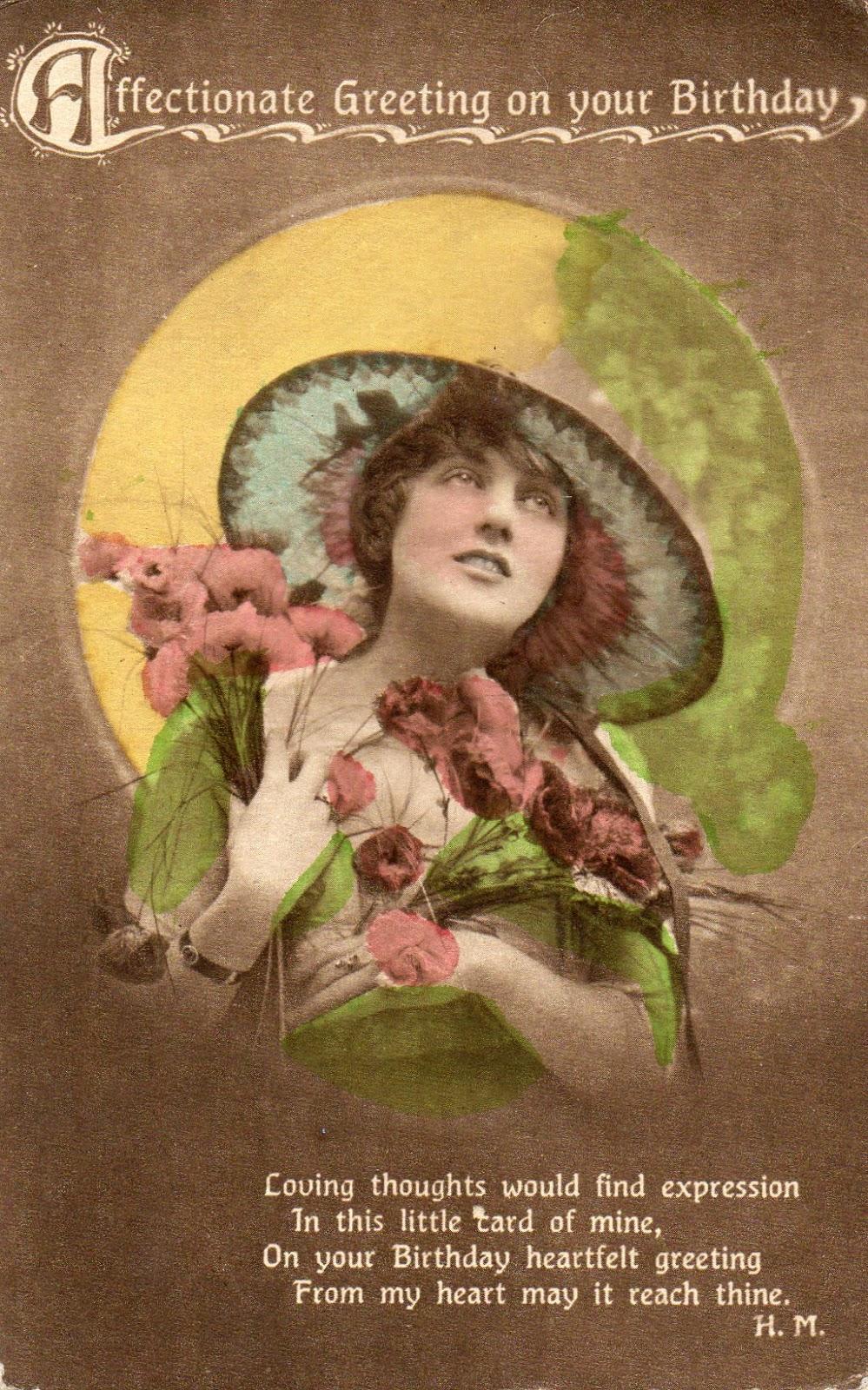 GREETINGS POSTCARD OF EDWARDIAN LADY WEARING A HAT