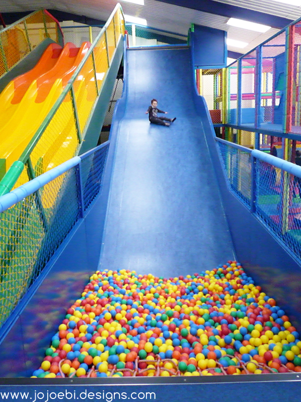 Jojoebi designs vertical drop slides and go carts for Indoor playground for toddlers near me