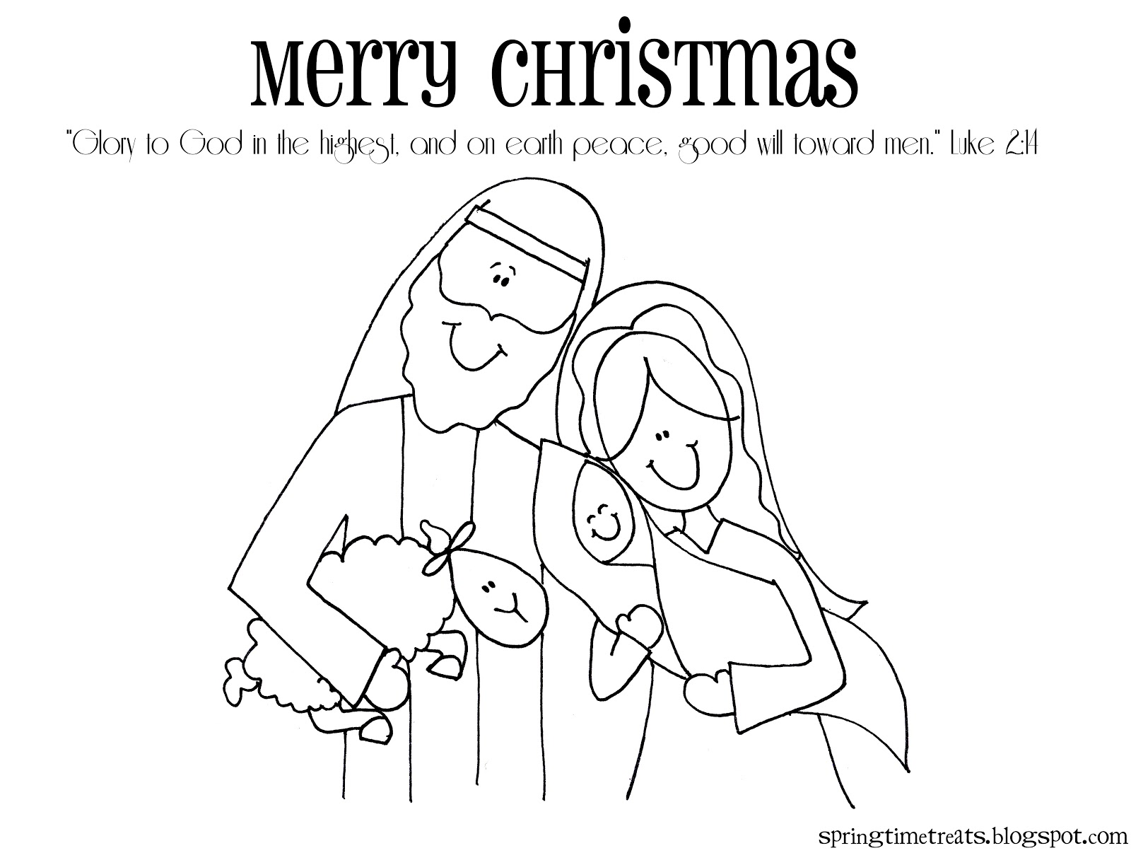 merry christmas nativity coloring page