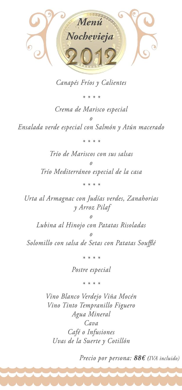 El blog de la dorada men nochevieja la dorada 2012 - Menu cena de nochevieja ...