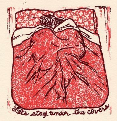 under the covers in bed linocut illustration by Katie Muth