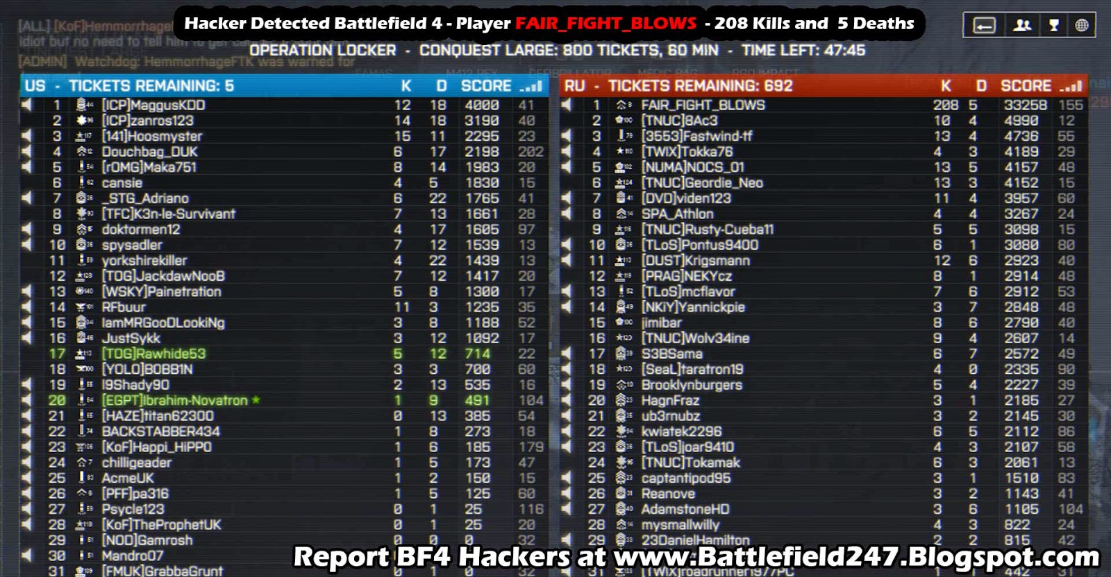 Player FAIR_FIGHT_BLOWS BF4 Aimbot Cheater Caught