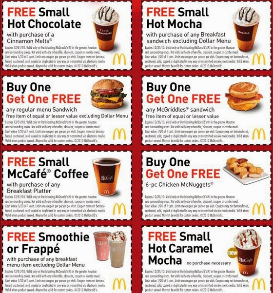 Fast food restaurants coupons 2018