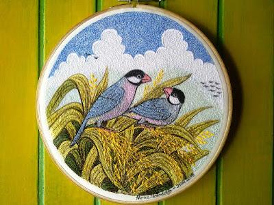 java sparrow embroidery art