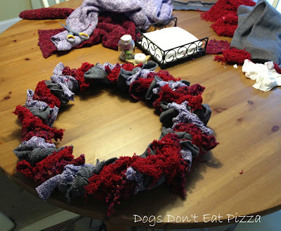 Upcycled scarf and sweater wreath - thediybungalow.com