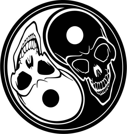 Yin Yang skulls tattoo stencil