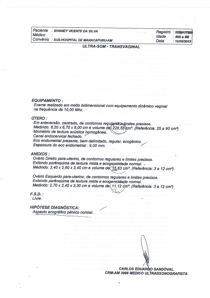 Transvaginal exame