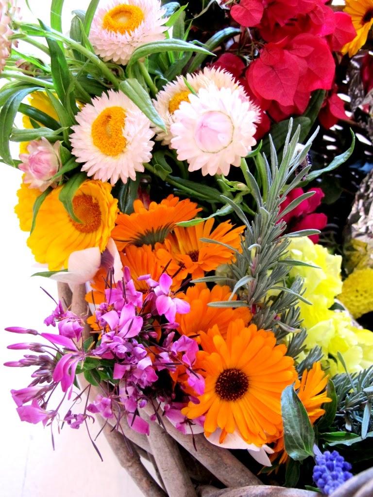 Basket Of Fresh Garden Flowers