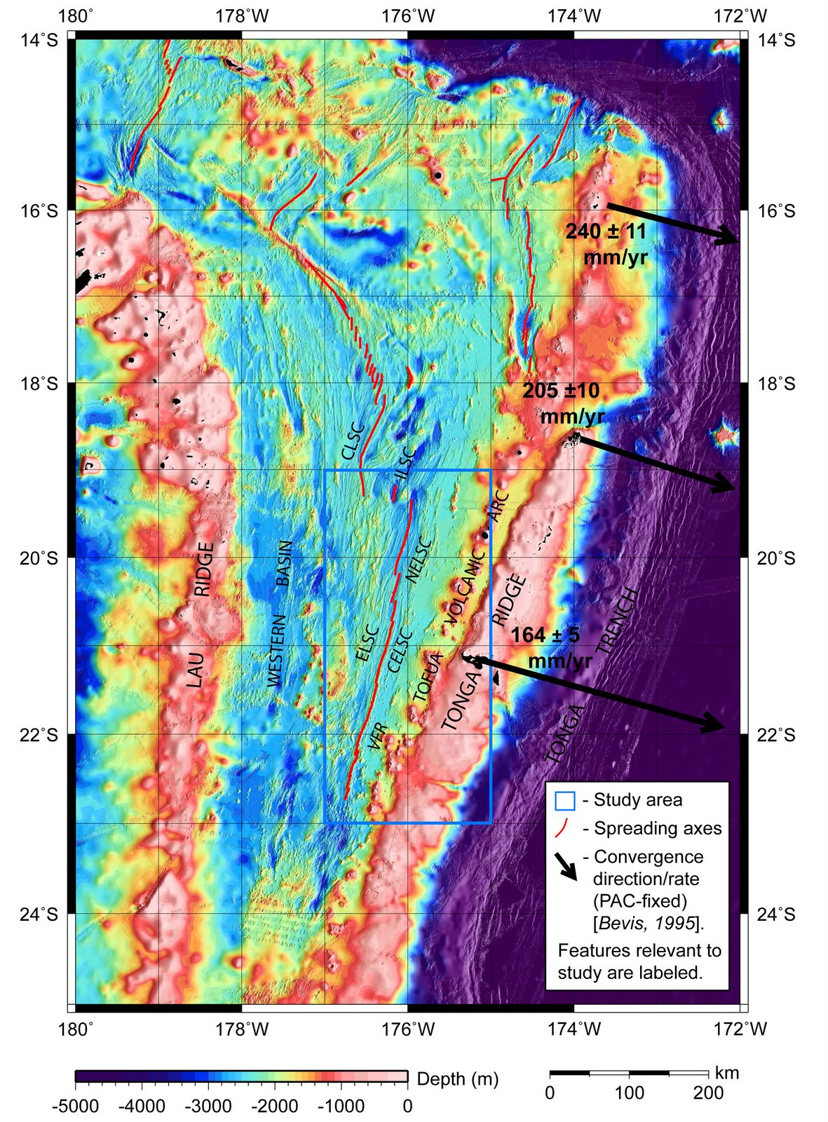 location map showing lau basin bathymetry seafloor topography my master s study area is outlined by the blue box the red lines mark the spreading