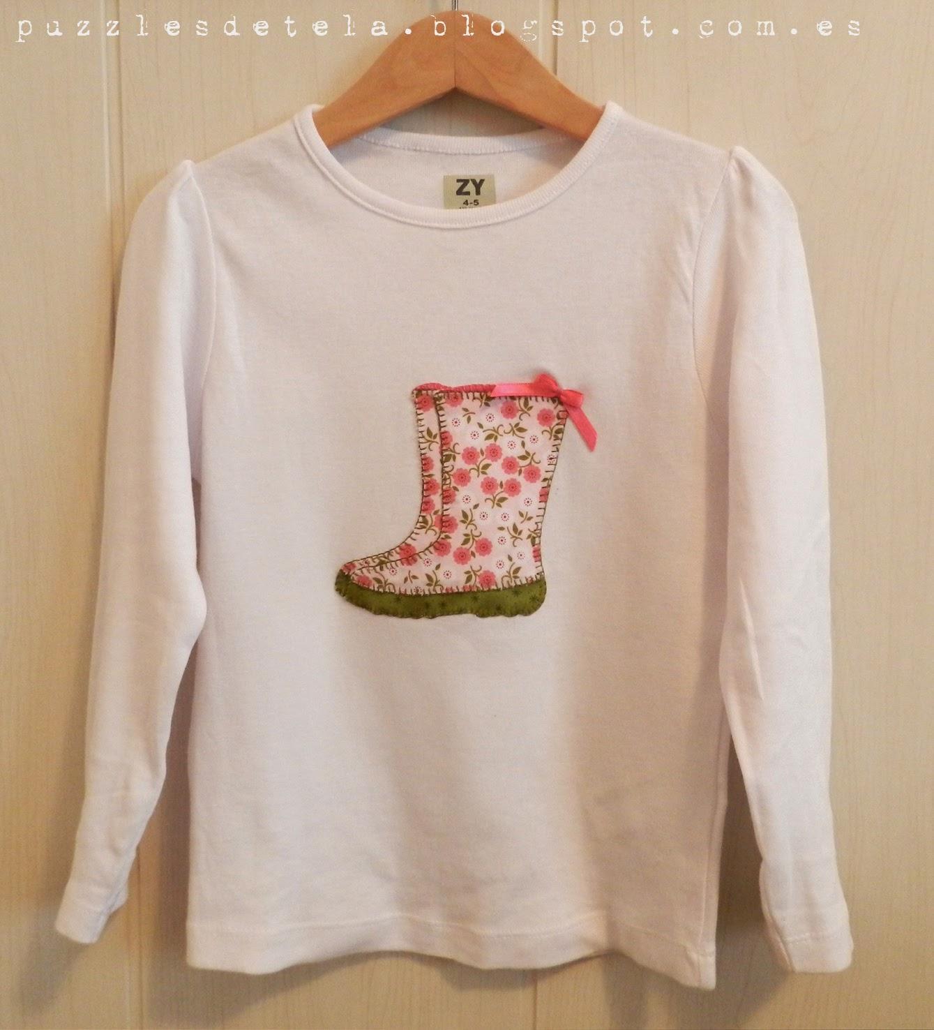 Camiseta niña, camiseta manga larga, camiseta patchwork, camiseta con aplicaciones, patchwork camisetas, aplicaciones, botas de agua, camiseta botas de agua