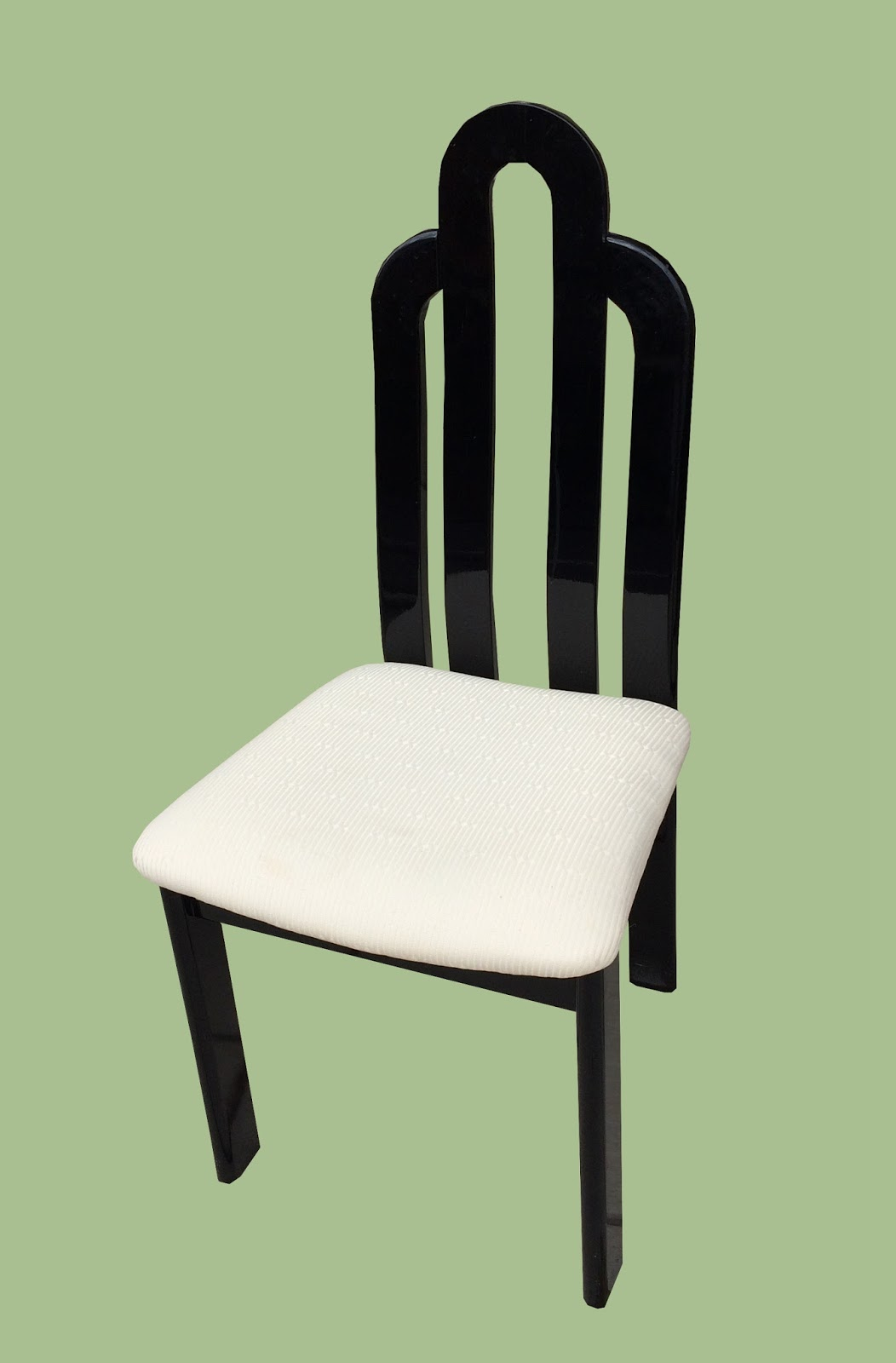 Uhuru furniture collectibles pair of black lacquer for Black and white upholstered dining chairs