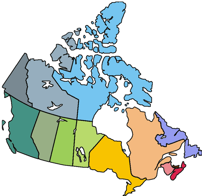 colorful blank Canada map