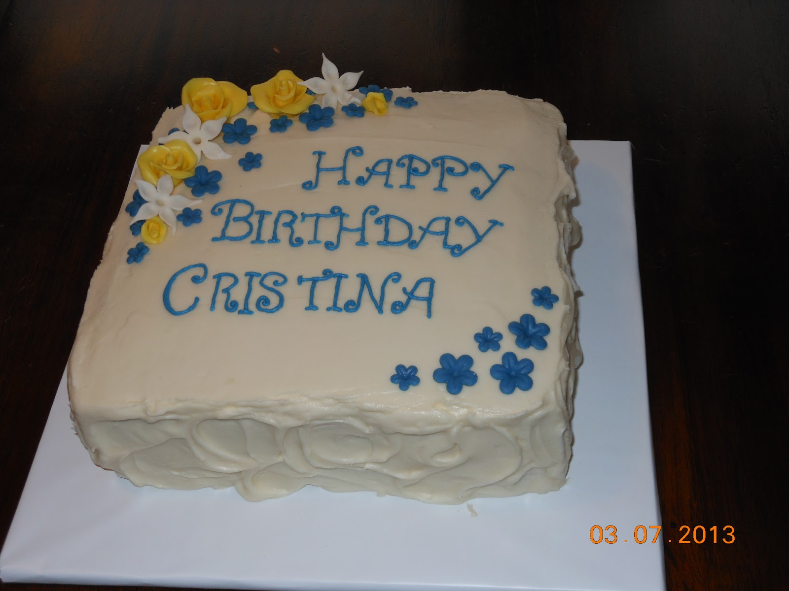 Its a piece of cake Blue and yellow flower birthday cake
