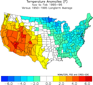 Precipitation anomalies for Nov.-Feb. 1995-1996 with regards to long