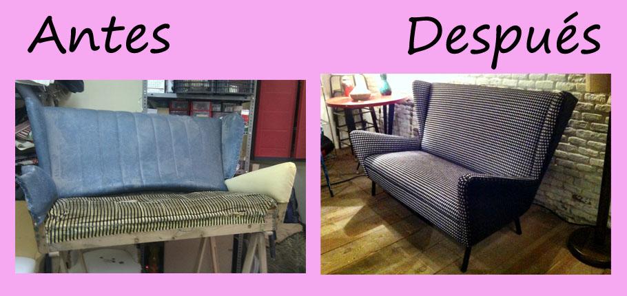 Sofa a os 50 tapizado con pata de gallo la tapicera for Tapizado de sofas