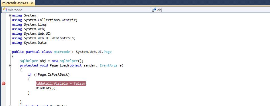 breakpoint in asp.net