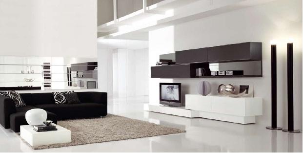 Sala de estar minimalista funcional con pared oscura por for Muebles de sala de estar modernos