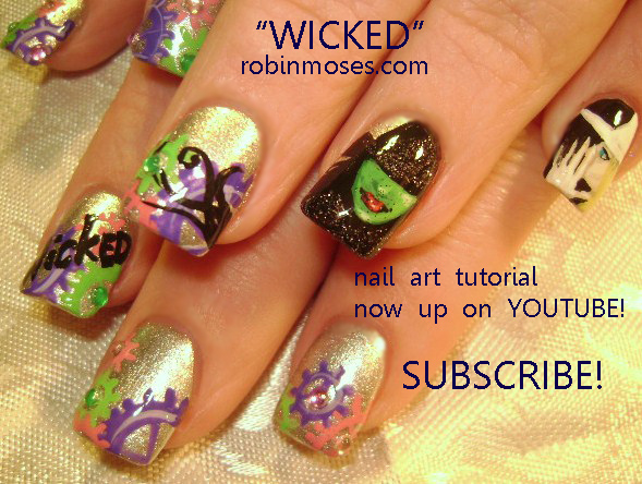 Wicked The Musical Nails Rhododendron Nails Plum Flower Nail