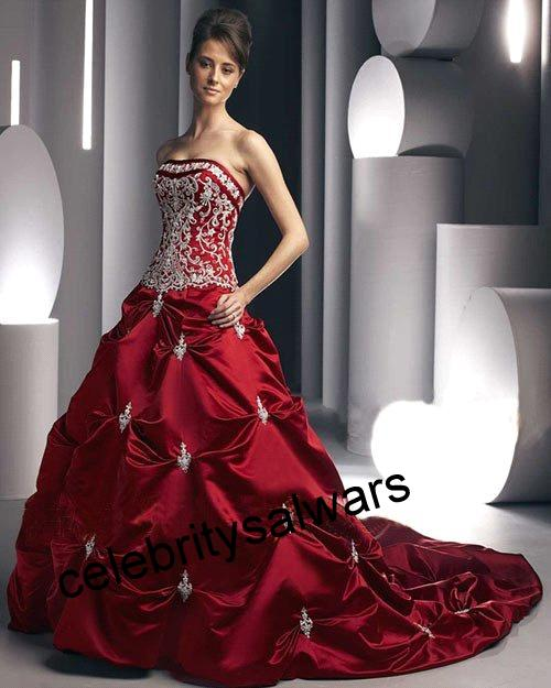All celebrity salwars celebrity in red color long wedding for All red wedding dresses