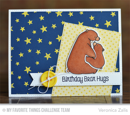 BIrthday Bear Hugs by Veronica Zalis featuring the Birdie Brown Birthday Bears stamp set and DIe-namics and the Star Celebration background stamp #mftstamps