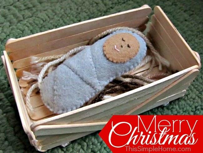 felt Jesus in a handmade manger