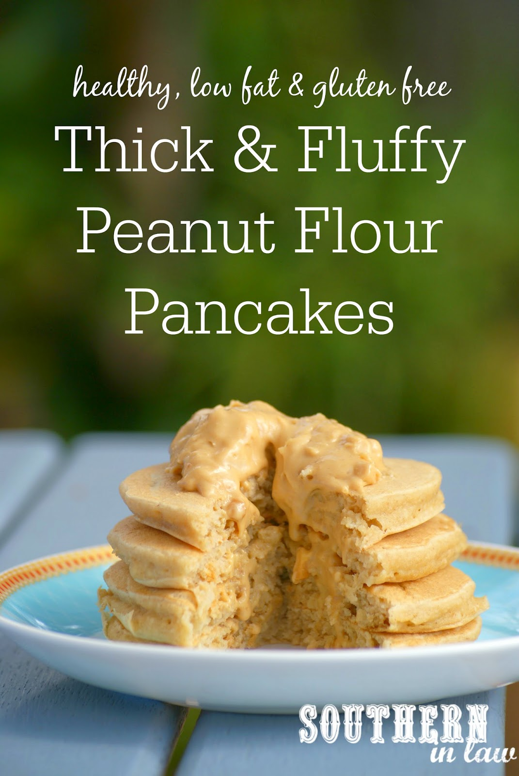 Healthy Thick and Fluffy Peanut Flour Pancakes Recipe - low fat, gluten free, refined sugar free, peanut flour recipes, healthy pancake recipes, high protein