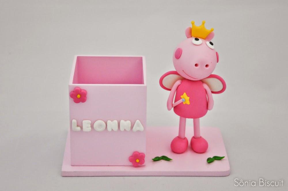 Peppa Pig Lembrancinha Aniversário Biscuit Porta Lápis Porta Caneta