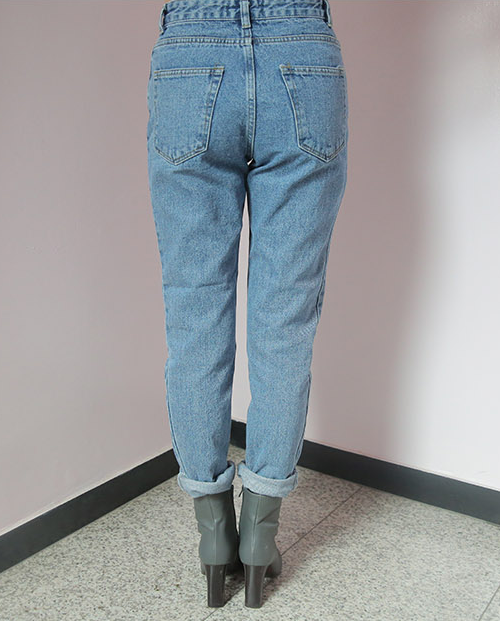 Light Wash High Waist Straight Jeans