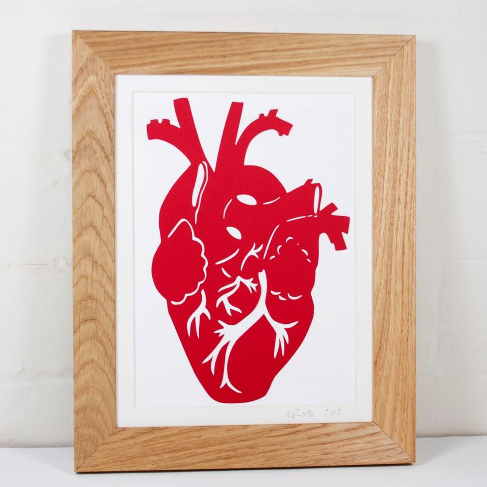Red Anatomical Heart Papercut