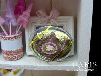 Miniature milk chocolate teapot in clear presentation box