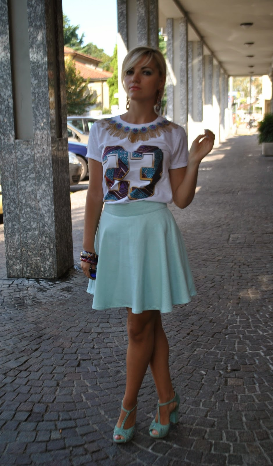 outfit t-shirt tee trend e gonna a ruota verde menta outfit settembre 2014 outfit mariafelicia magno outfit casual settembre 2014 outfit colorblock byfelym fashion blogger bionde mariafelicia magno fashion blogger