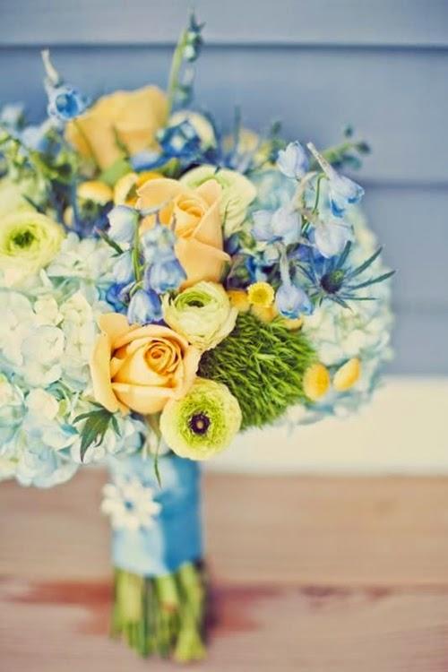 bukett blå och gul, bouquet yellow and blue