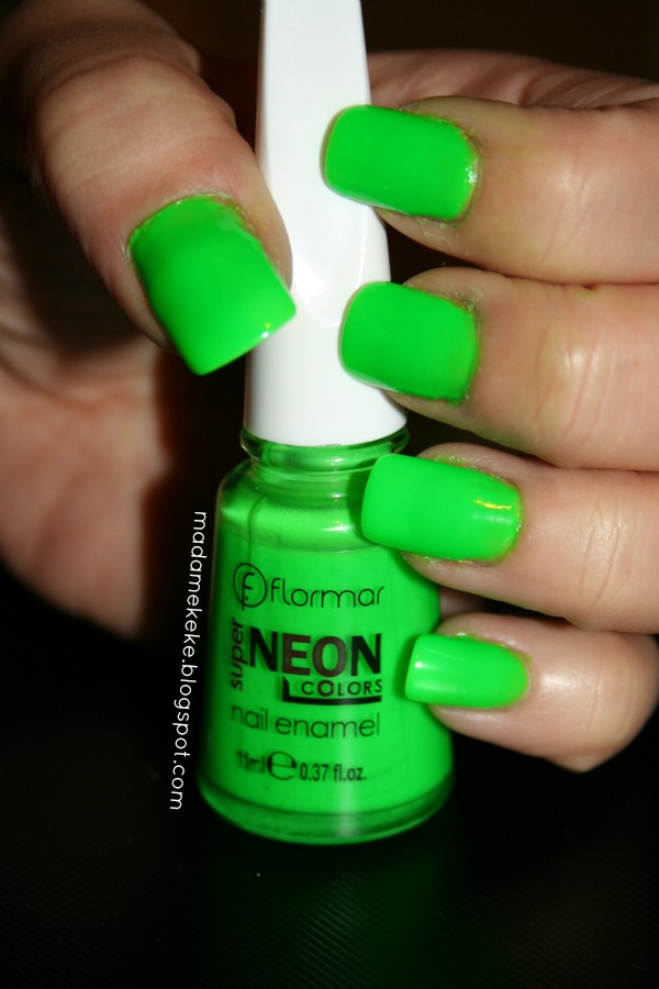 Swatch: Flormar Super Neon Colors - Bright Neon Green Nr. 14 - Madame Keke Fashion & Beauty Blog