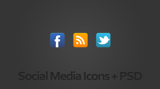 Facebook, Twitter and RSS icons + PSD