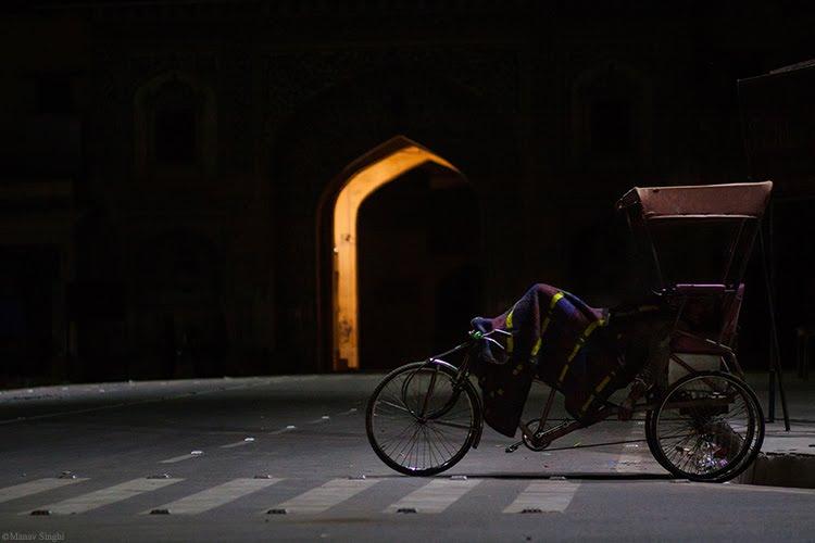 Street life at night in Jaipur