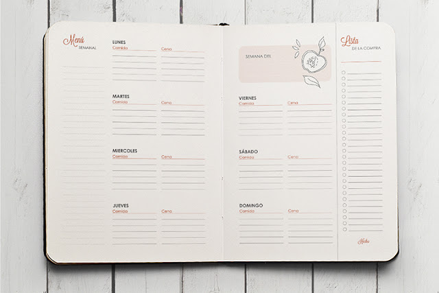 planificador de menus Agenda 2016 para colorear