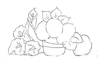 risco de vaso com hortensias e copos de leite