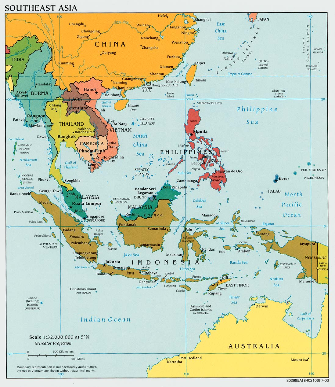 Map of South East Asia Countries