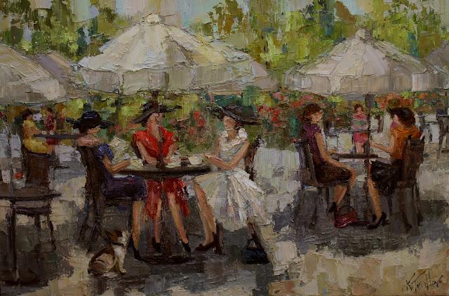 cafe a midi, parisian ladies, kathryn trotter art, www.kathryntrotterart.com, outdoor cafe, outdoor cafe paintings, impressionistic paintings, kathryn morris trotter
