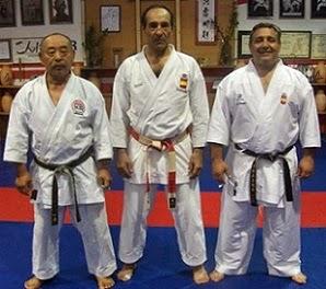 Los maestros de karate Seigo Fujita, Paco Mayoral y Ángel Arenas.