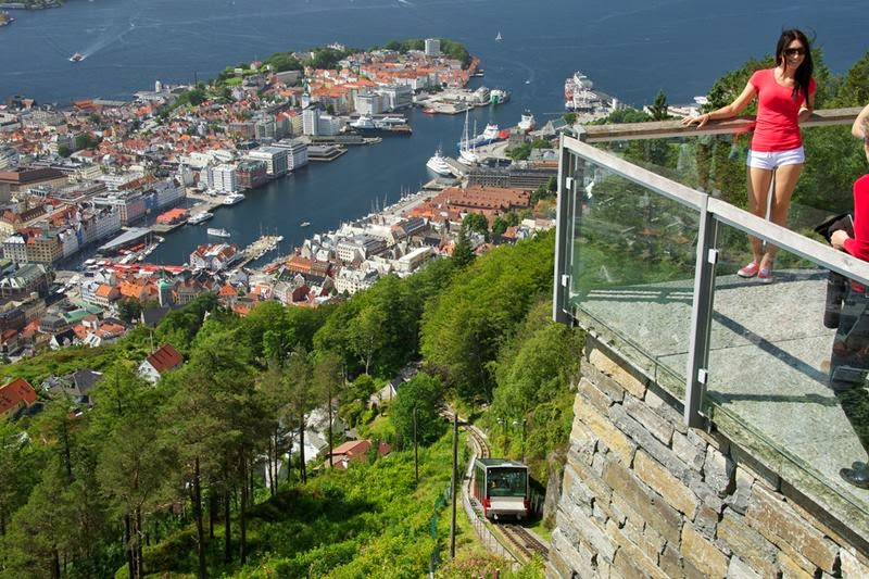 The Fløibanen funicular railway, this is the view from the top of Fløyen Mountain Bergen, Norway.