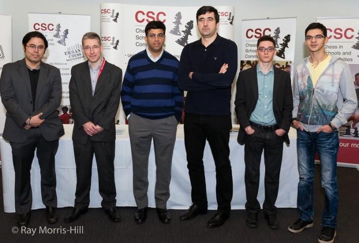 Les super six (de g. à droite): Hikaru Nakamura, Mickaël Adams, Viswanathan Anand, Vladimir Kramnik, Fabiano Caruana et Anish Giri - Photo ©  Ray Morris-Hill