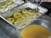 Apfelscheibe mit Käse vom Grill