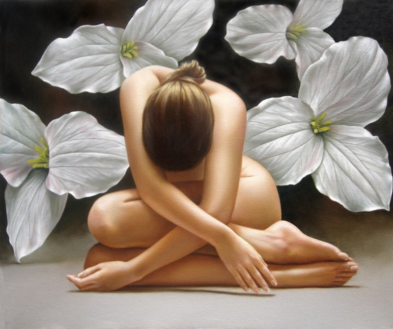 D.W.C. Flowers and Nude - Painter Renso Castaneda Zevallos