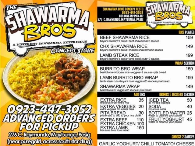 Shawarma Bros Concept Resto Menu