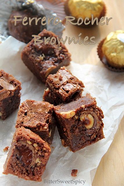 bittersweetspicy ferrero rocher brownies