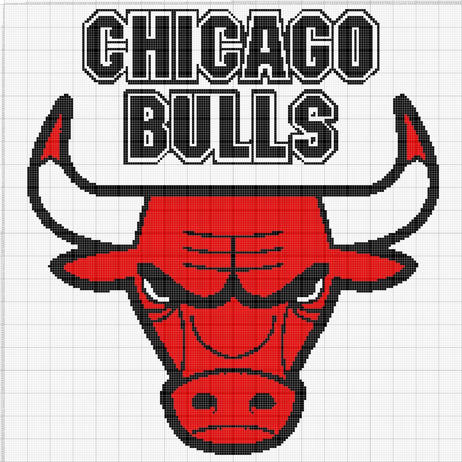 Gambar Pola Kristik Logo Klub Bola Basket NBA - Chicago Bulls