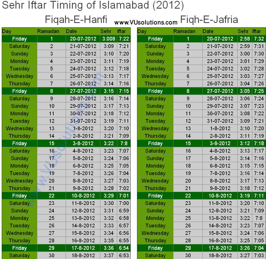 ... Sehri Iftar Timing Islamabad / Rawalpindi 2012 Ramadan Calender