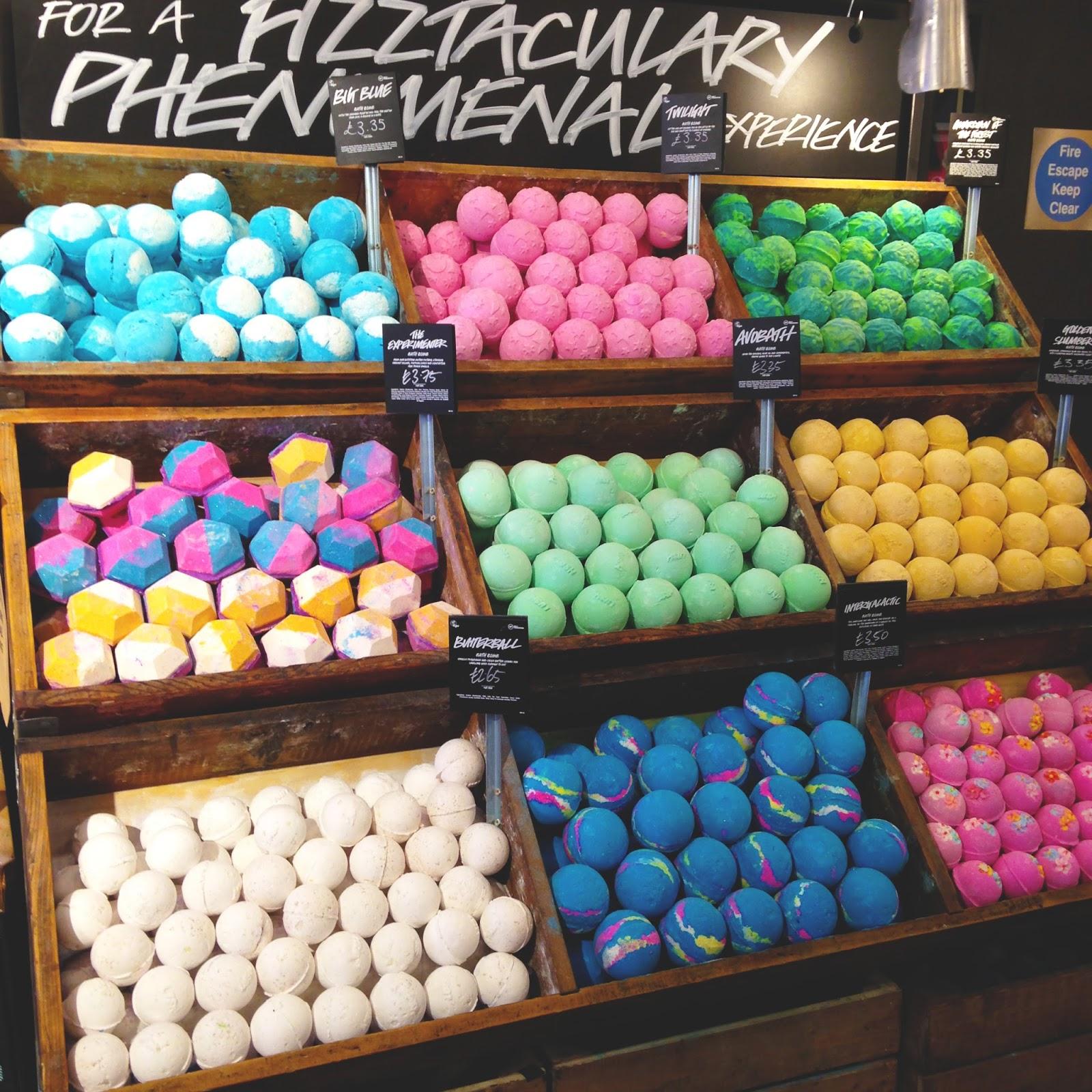 lush bath bombs at their oxford street store